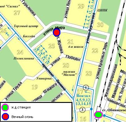 Схема передвижения по городу